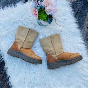 Skechers Platform Leather Outdoor Fur Lined Boots
